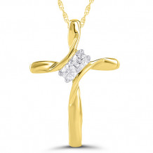 10k Yellow Gold Diamond Cross Pendant