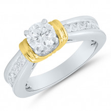 Two Tone 14k Gold Solitaire Engagement Ring