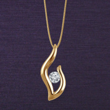 Denise Anne 14k Yellow Gold Passions Flame Diamond Pendant