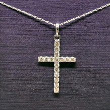 Denise Anne 14k White Gold Diamond Cross Pendant