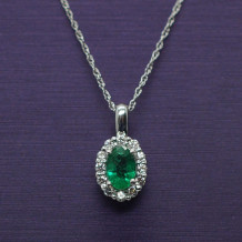 Denise Anne Diamond and Emerald Pendant