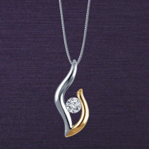 Denise Anne Two Toned 14k Gold Passions Flame Diamond Pendant