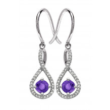 Silver Amethyst Birthstone and Diamond Earrings (February)