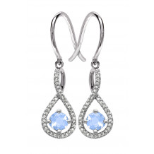Silver Aquamarine Birthstone and Diamond Earrings (March)