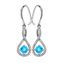 Silver Blue Topaz Birthstone and Diamond Earrings (December)