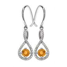 Silver Citrine Birthstone and Diamond Earrings (November)