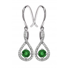 Silver Emerald Birthstone and Diamond Earrings (May)