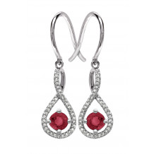 Silver Garnet Birthstone and Diamond Earrings (January)