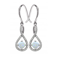 Silver Opal Birthstone and Diamond Earrings (October)