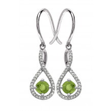 Silver Peridot Birthstone and Diamond Earrings (August)