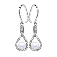 Silver Pearl Birthstone and Diamond Earrings (June)