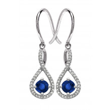 Silver Sapphire Birthstone and Diamond Earrings (September)
