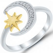 Sterling Silver & 14k Yellow Gold Diamond Ring