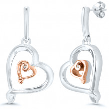 Kissing Hearts Sterling Silver & 10k Rose Gold Diamond Dangle Earrings