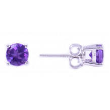 14KT White Gold 5MM Amethyst Earrings (February)