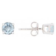 14KT White Gold 5MM Aquamarine Earrings (March)