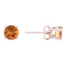 14KT Yellow Gold 5MM Citrine Earrings (November)