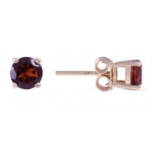 14KT Yellow Gold 5MM Garnet Earrings (January)