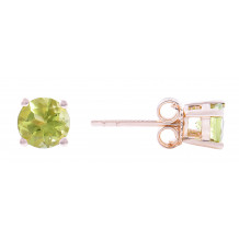 14KT Yellow Gold 5MM Peridot Earrings (August)