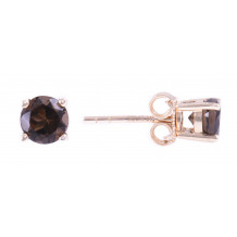 14KT Yellow Gold 5MM Smoky Quartz Earrings (June)