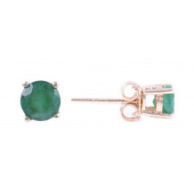 14KT Yellow Gold 5MM Emerald Earrings (May)