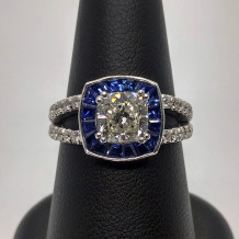 Custom Design Diamond and Sapphire Ring