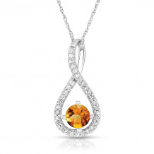 Silver Citrine Birthstone and Diamond Swirl Pendant (November)