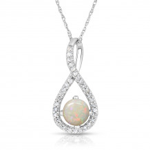 Silver Opal Birthstone and Diamond Swirl Pendant (October)