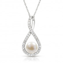 Silver Pearl Birthstone and Diamond Swirl Pendant (June)