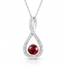 Silver Ruby Birthstone and Diamond Swirl Pendant (July)