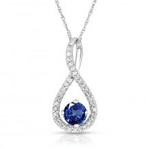 Silver Sapphire Birthstone and Diamond Swirl Pendant (September)