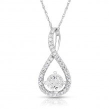 Silver White Topaz Birthstone and Diamond Swirl Pendant (April)
