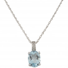 14KT White Gold 8x6 Oval Aquamarine Birthstone Pendant (March)