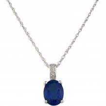 14KT White Gold 7x5 Oval Sapphire Birthstone Pendant (September)