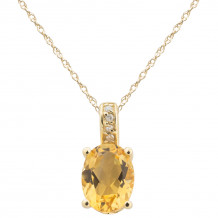 14KT Yellow Gold 8x6 Oval Citrine Birthstone Pendant (November)