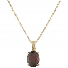 14KT Yellow Gold 8x6 Oval Garnet Birthstone Pendant (January)