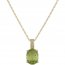 14KT Yellow Gold 8x6 Oval Peridot Birthstone Pendant (August)