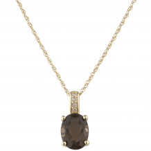 14KT Yellow Gold 8x6 Oval Smoky Quartz Birthstone Pendant (June)