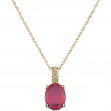 14KT Yellow Gold 7x5 Oval Ruby Birthstone Pendant (July)