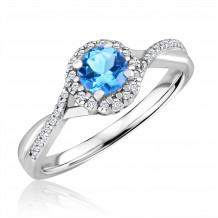 Silver Blue Topaz Birthstone and Diamond Ring (December)