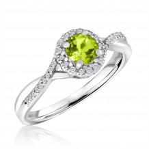 Silver Peridot Birthstone and Diamond Ring (August)