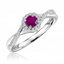 Silver Ruby Birthstone and Diamond Ring (July)