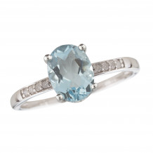 14KT White Gold 8x6 Oval Aquamarine Birthstone Ring (March)