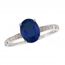 14KT White Gold 7x5 Oval Sapphire Birthstone Ring (September)