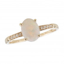 14KT Yellow Gold 8x6 Oval Opal Birthstone Ring (October)
