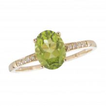 14KT Yellow Gold 8x6 Oval Peridot Birthstone Ring (August)