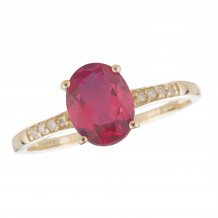 14KT Yellow Gold 7x5 Oval Ruby Birthstone Ring (July)